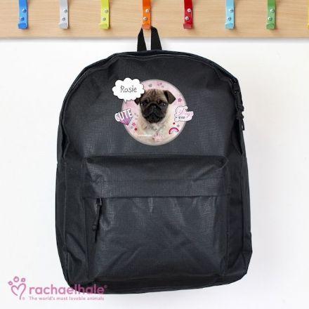 Personalised Rachael Hale Black Backpack - Doodle Pug